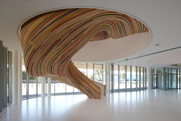 Sculptural Stairs at the School of Arts in Saint Herblain, France