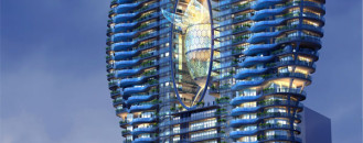 Fluid Design Captured In Glass Pool-Adorned Residential Tower