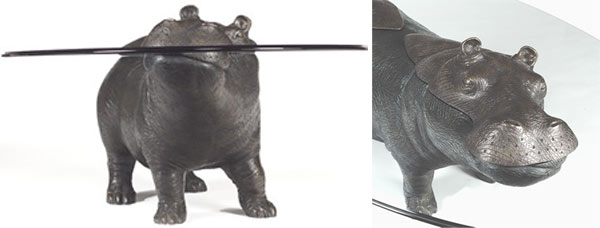 Bronze Collection Of Animals Tables Emerging Out Of Glass Surfaces