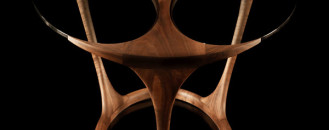 Original Wood and Glass Table by Paco Camús: Yris