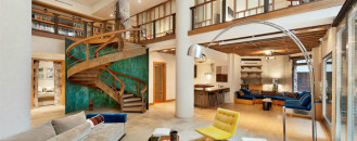 """Remarkable TriBeCa Loft in NY """"Orbiting"""" Around a Massive Stairway"""