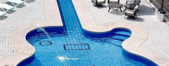 Alluring Les Paul Guitar-Inspired Swimming Pool