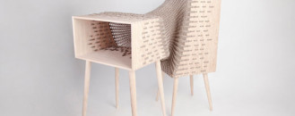 Experimental Furniture Hybrid Shaped Of Wood And Textile