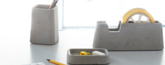 Architects' Concrete Obsession Transposed In Solid Desk Accessories