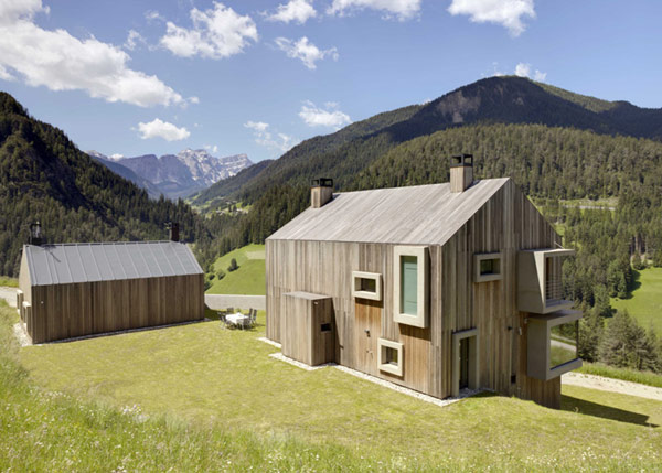 Boxy Windows Adorning Cute Gabled Wooden Home in Italy