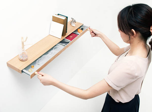 Magnets Hiding Storage Space In 34mm Thick Shelf
