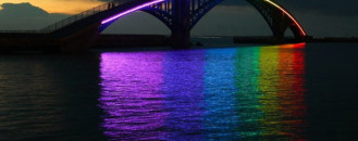 Spectacular Light Installation: Rainbow Bridge Glowing in the Night in Taiwan