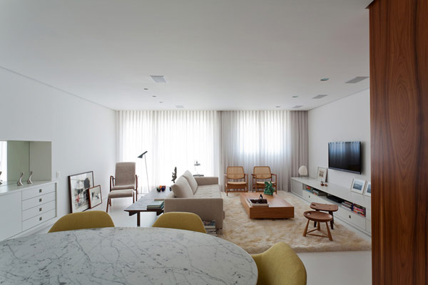 Elegant and Well-Planned White Apartment in Brazil