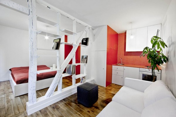 Surprisingly Small Apartment In Paris With A Charming Red And White Interior This Look Ottoman Couch Comforter 2