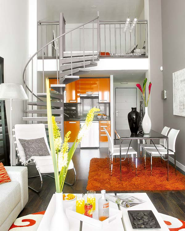 Very Small Apartment Design Small Loft Featuring Bright, Vividly Colored Spaces Shop this look: rug,  chair, pillow.
