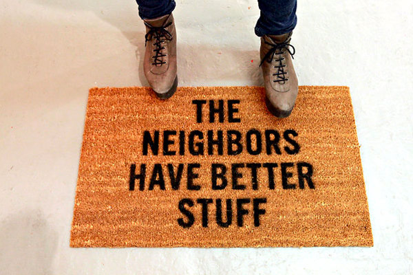 Interesting Way to Redirect Robbers: The Neighbours Have Better Stuff Doormat