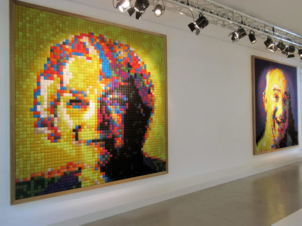 6,728 Colored Cloth Squares Used To Create Fabric Padded Portraits [Video]
