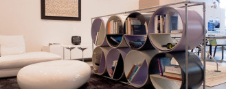 Fashionable Wine and Bookshelf Combo Made From Cellulose Tubes