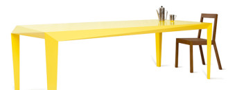 Energy Shot: Dynamic And Minimal Yellow Table by Reinier de Jong