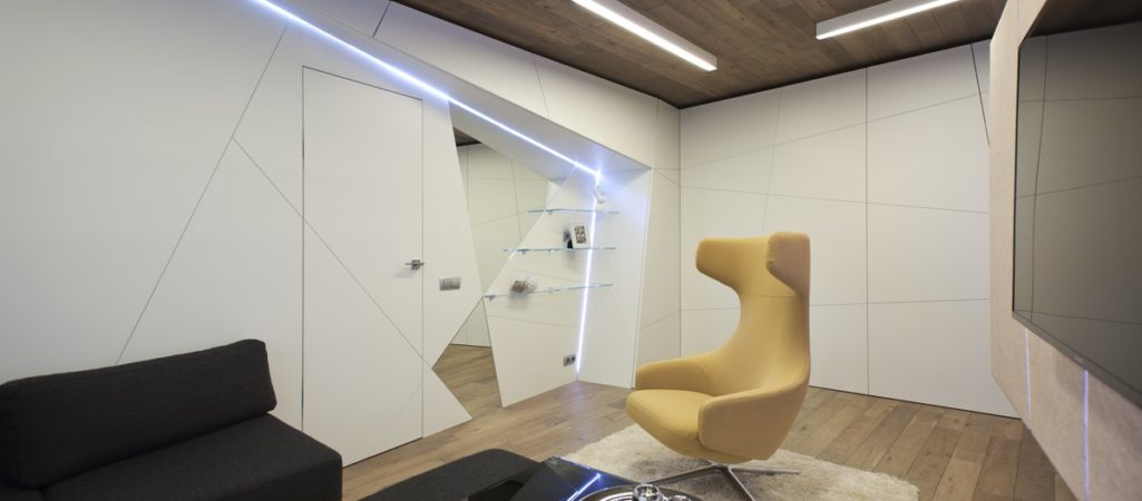 Eccentric Living Room For a Family of Musicians by Geometrix Design