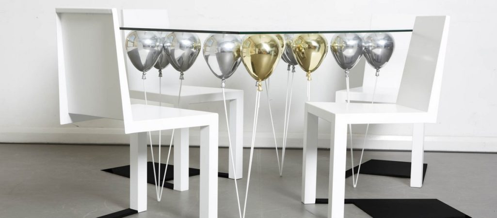 Suspended by Shiny Gold and Silver Balloons: UP Dining Table