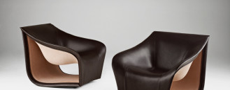 Inspired by the Movement of the Waves: Split Leather Sofa&Chairs