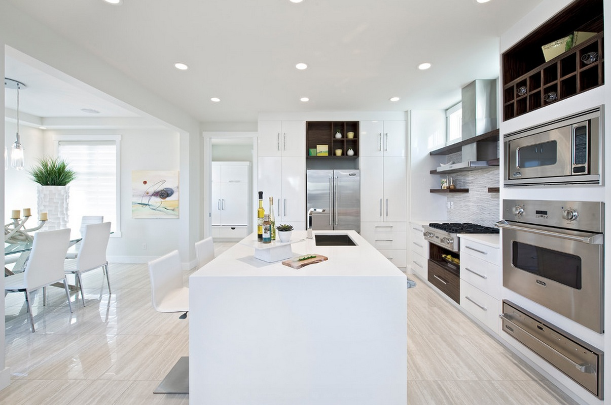 All White Modern Kitchen decorating with white contemporary kitchen