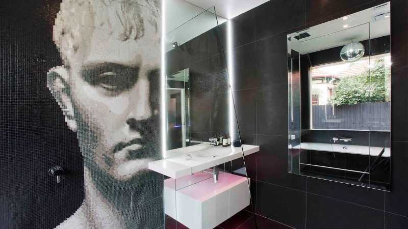 Unexpected Mosaic Portrait Dominating Small Modern Bathroom in Australia