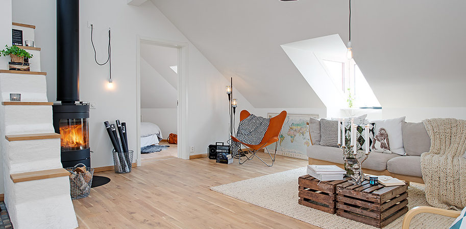 Swedish Elegance and Minimalism Discharged in 90Sqm Attic Loft