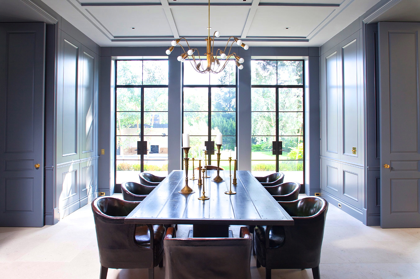 Superbe Collect This Idea William Hefner Dining Room Paneled Walls Doors Gray Blue  Cococozy Interior Design Leather Chairs Encasement Windows