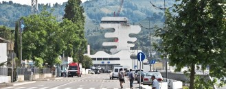 Irregularly-Shaped Tower Marking the Georgia-Turkey Border: Sarpi Checkpoint