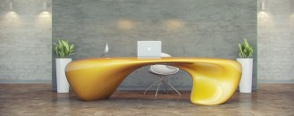Extravagant Office Desk Showcasing a Fluid Shape: Evfyra Table by NUVIST