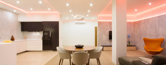 Changing the Mood of a Studio Apartment Through RGB Lighting: Russian Loft by G-DESIGN
