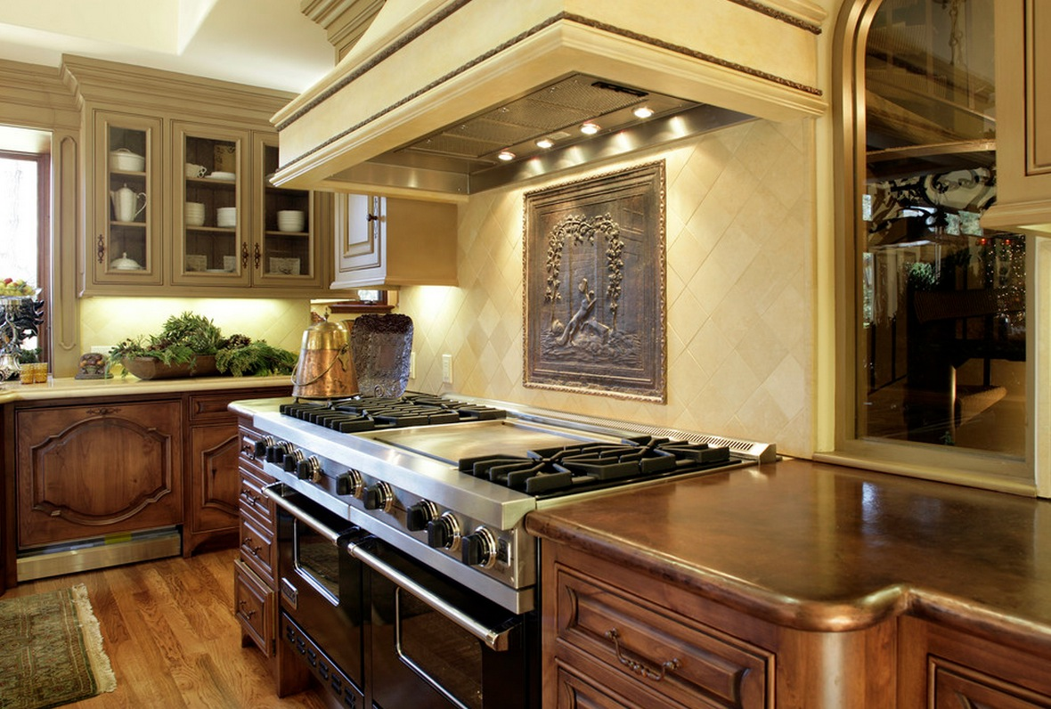 Copper hammered countertops make this kitchen a dream