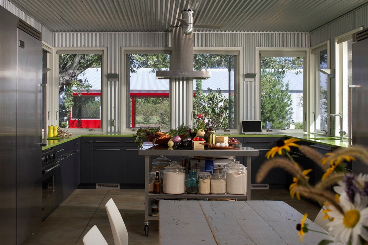 Metal interiors corrugated metal kitchen