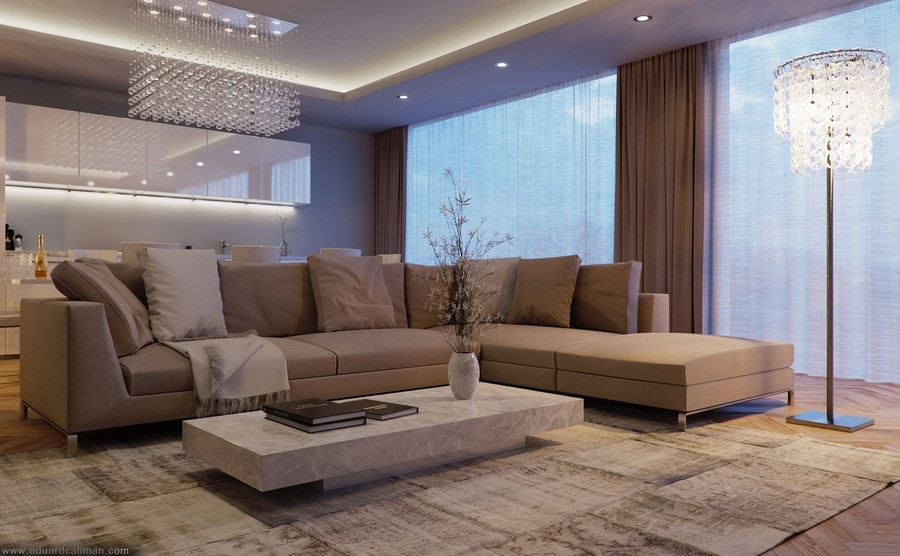 Contemporary Living Room by Eduard C?liman Depicting a ...