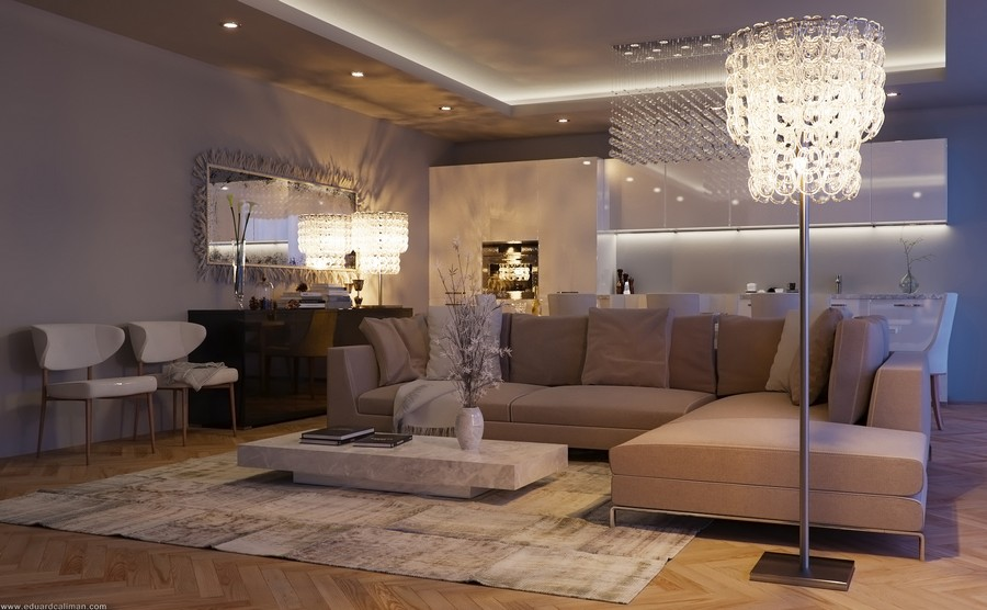 Contemporary Living Room by Eduard C?liman Depicting a Luxurious Lifestyle