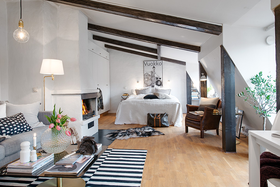 charming decorate small living room apartment decorating | Charming Light-Flooded Attic Apartment in Gothenburg ...
