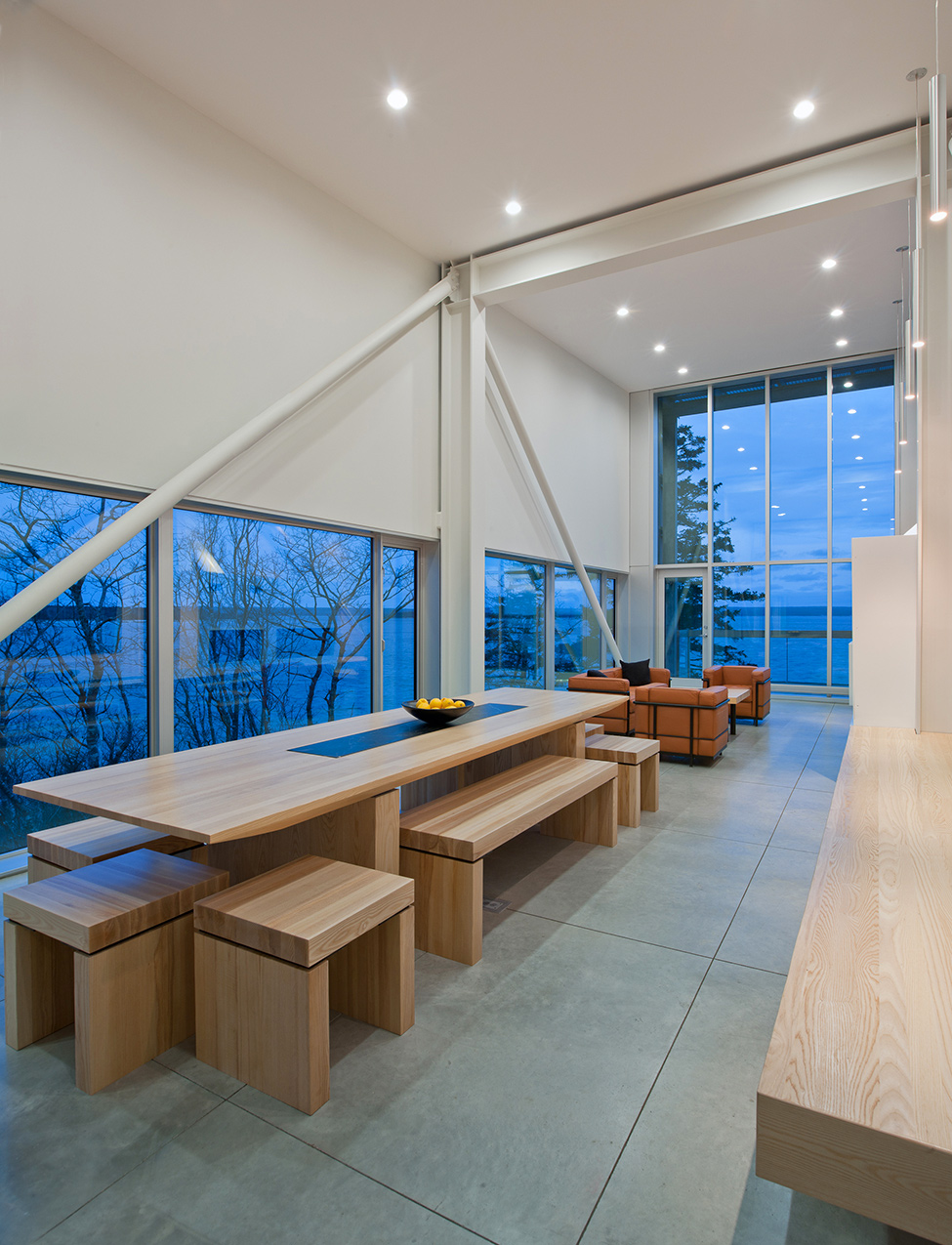 Wooden interior and view evening