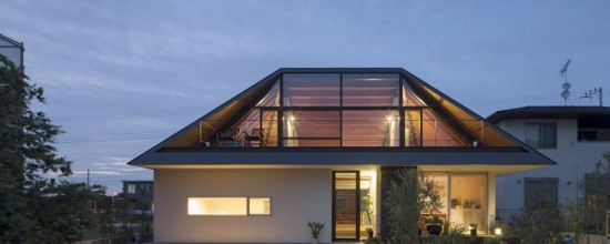 Modern House with Hipped Glass Roof in Japan