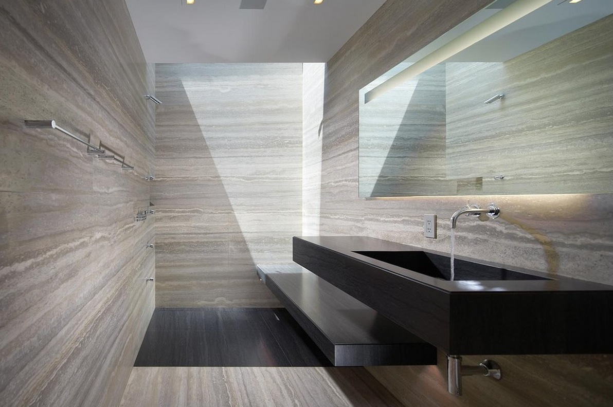 travertine bathroom walls