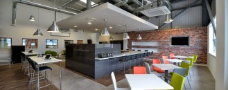 Break-Out and Dining Space in Manchester With Industrial Influences