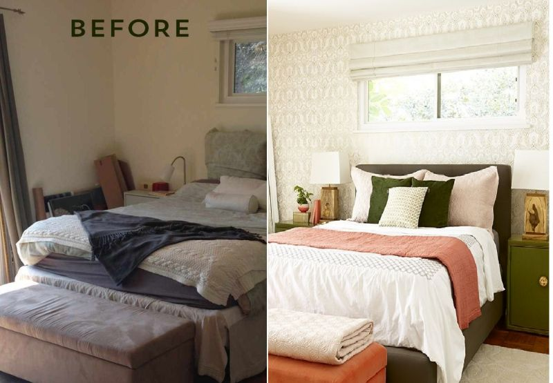 Master Bedroom Makeover After: Before And After : Bedroom Makeover With Moss And Coral