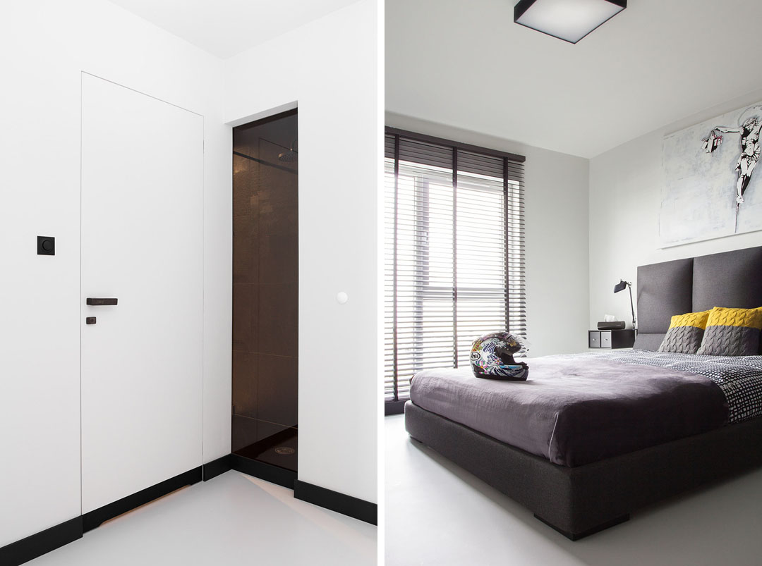 Masculine Black And White Apartment Spiced Up With