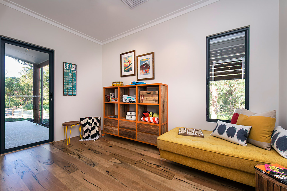 Room with wood and yellow details