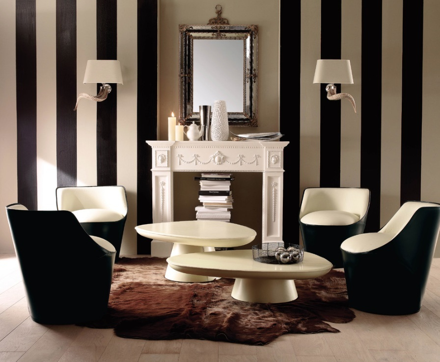 bold black and white room
