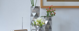 Convert Vase Collection in Stainless Steel Inspired by Architectural Geometry