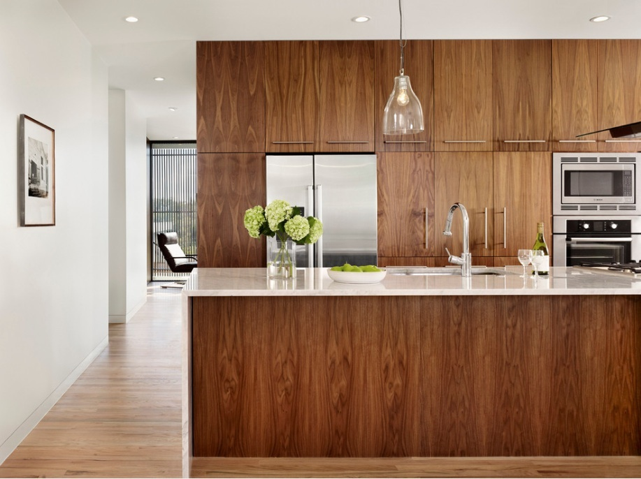 1) Veneer Wood Cabinetry Can Be A Warm Kitchen Addition