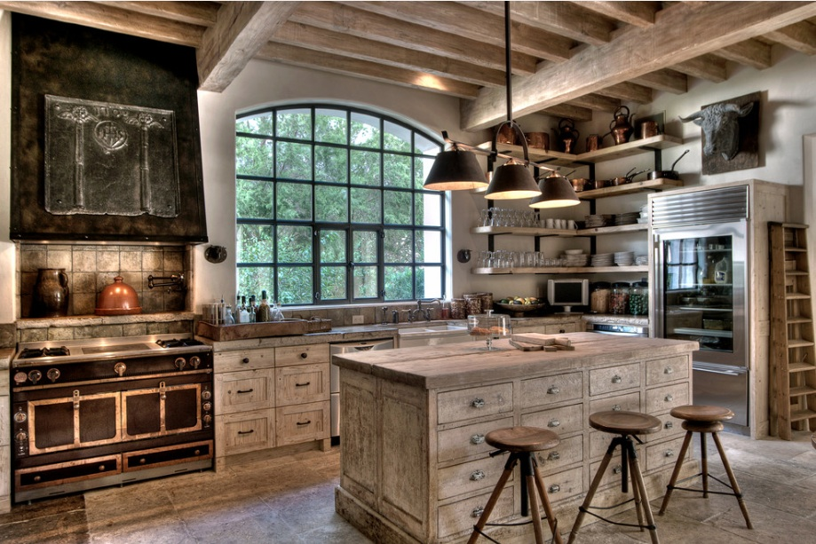 nice Country Farmhouse Kitchen Designs Part - 1: white washed rustic kitchen