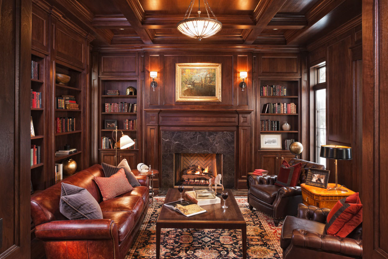 Stone And Wood Make A Dark Masculine Interior: 30 Classic Home Library Design Ideas Imposing Style