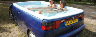Seat Ibiza Sedan Turns Creative Jacuzzi in the Hands of French Artist Benedetto Bufalino
