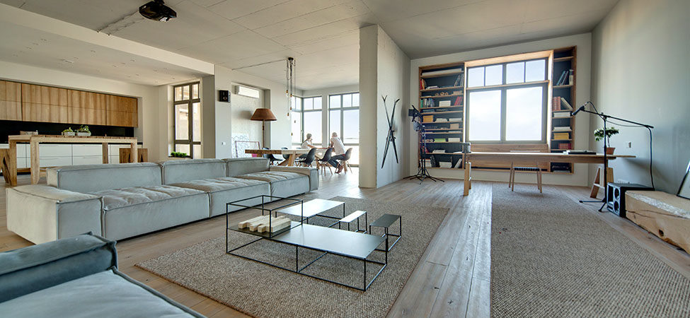 Spacious Modern Loft in Kiev Decorated with Stylish Details and FramedCityscapes