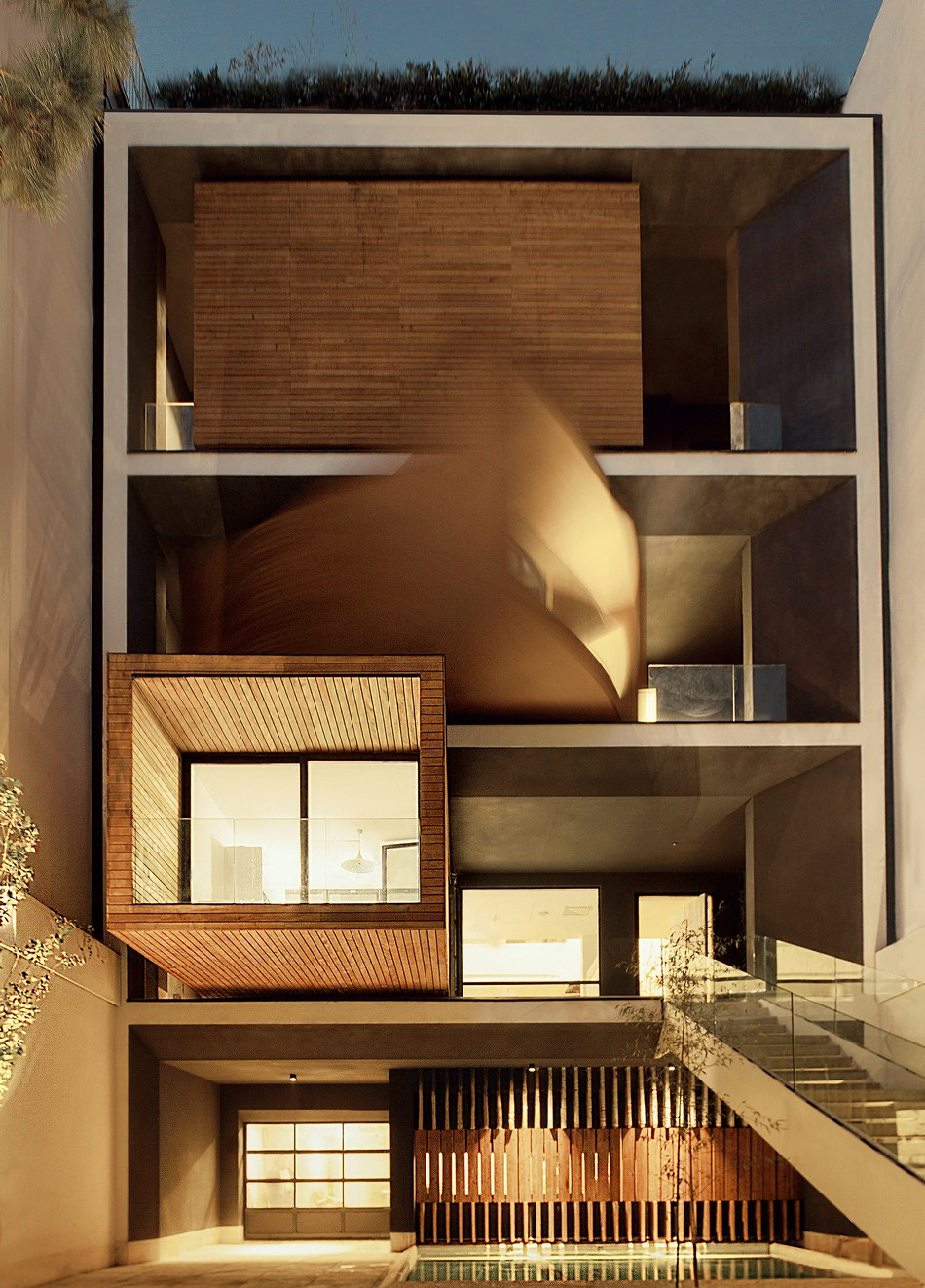 Innovative turning boxes adapting sharifi ha house to the climate changes of tehran