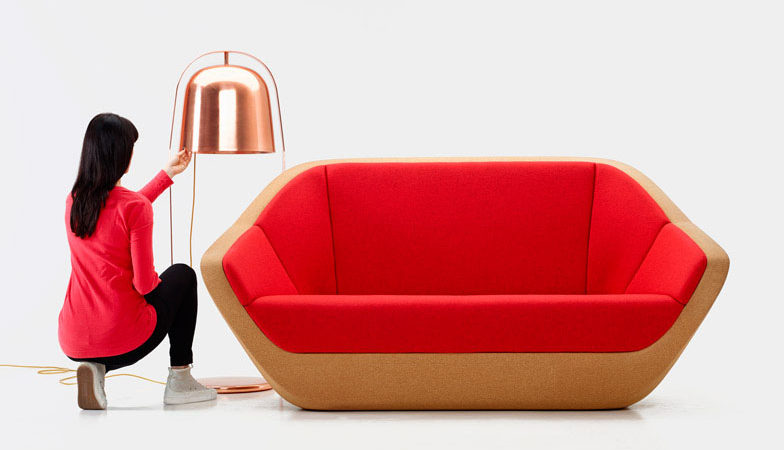 Cork Sofa Revived From Bottle Cork Leftovers: Curvaceous Corques Sofa
