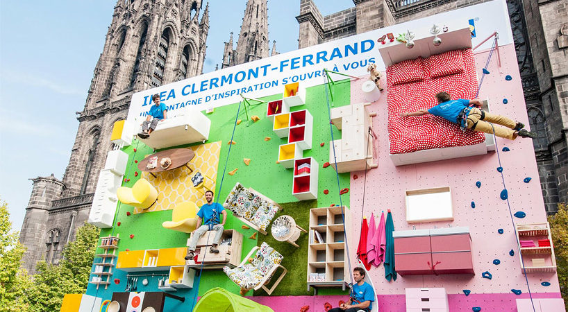 Extremely Creative Vertical Apartment Showroom: IKEA Climbing Wall in France